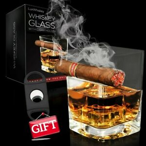LUXWHISKEY USA - Square Whiskey Glass with Cigar Holder & Cigar Cutter