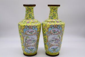 Large Chinese Antique Yellow Cloisonne Enamel Vase Pair With Flowers $950.00
