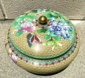 Large Chinese Antique Cloisonne Enamel Jar Box With Flowers $249.00