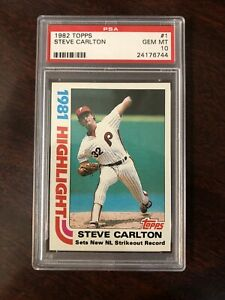 1982 Topps #1 Steve Carlton 1981 Highlights PSA 10 Set Break