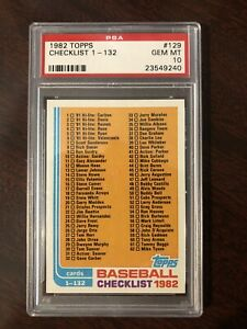 1982 Topps #129 Checklist 1 132 PSA 10 Set Break