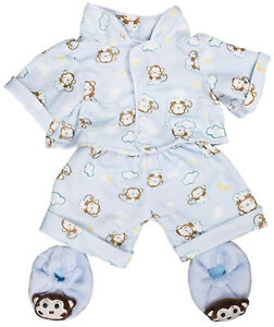 Blue Monkey Pajamas w Slippers Teddy Bear Clothes Fits Most 8quot; 10quot; Build A Bear