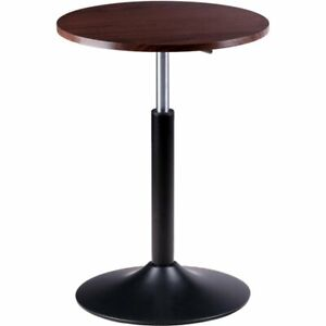 Winsome Christian Round Height Adjustable Solid Wood End Table in Cocoa