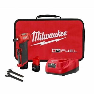 Milwaukee 2485 22 M12 FUEL 1 4quot; Right Angle Die Grinder Kit w 2 2Ah Batteries $229.99