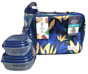 Fit & Fresh Insulated Lunch Bag Tote W/Water Bottle Sandwich & Snack Containers