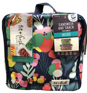 Fit & Fresh Insulated Tote Lunch Bag With Ice Pack Sandwich & Snack Containers