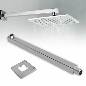 16 inch Stainless Steel Square Rainfall Shower Head Extension Arm Wall Mounted