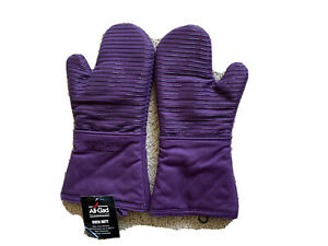 All Clad Set of Two Heavy Silicone Oven Mitts Washable - Purple Plum Ships Free!