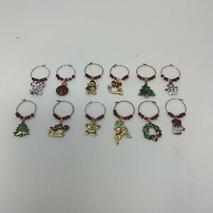 12 Christmas Wine Glass Charms