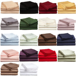 100%Egyptian Cotton 600 Thread Count 4 Piece Sheet Set Beautiful Colors USA Size