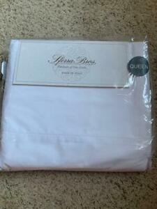 NWT SFERRA Italian Long Staple Premium Cotton Percale White 4-PC QUEEN Sheet SET