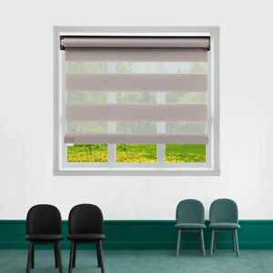 Cordless Zebra Roller Shades, Dual Layer Sheer Blinds Window Treatment