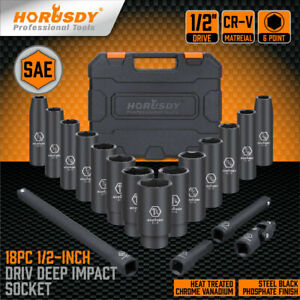 18 Pcs 1/2-Inch Drive Deep Impact Socket Set SAE Inch Axle Hub Nut 6-Point CR-V
