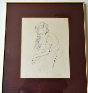 VANCE MITCHELL VINTAGE ORIGINAL LITHOGRAPH SIGNED AP GIRL IN A SWEATER   $49.00