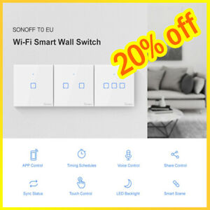 SONOFF T0US1C-TX 1/2/3 Gang Smart WiFi Wall Light Panel Switch APP Control`