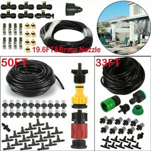 20 50FT Outdoor Misting Cooling System Garden Irrigation Water Mister Nozzles