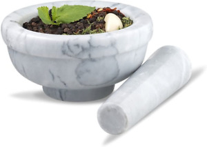 Mortar and Pestle Marble Set Classic Pestal Natural Spice Herb Tool Pill Grinder