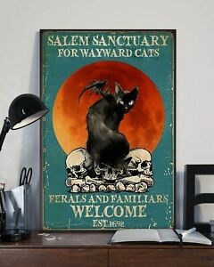 Black Cat And Skull Salem Sanctuary For Wayward Cats Wall Decor Poster No Frame