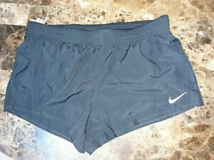 NEW Nike Running Shorts Black Dri Fit Brief Lined Women Sz XL With Logo NWT $30 $25.99