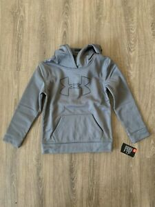 UA Under Armour Boys Big Logo Hoodie, Kids, Youth Size 6 Graphite Black $19.95