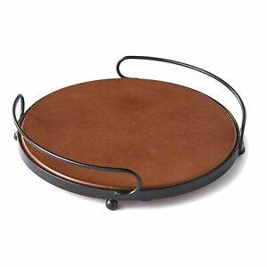 Round Wooden Serving Tray with Metal Handles Rustic Kitchen Accent