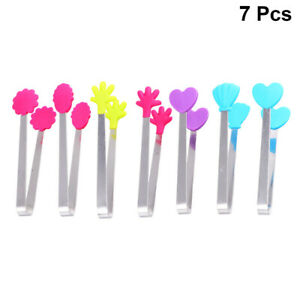 7Pcs Food Clips Stainless Steel Silicon Bread Tong BBQ Tong Kitchen Tool Utensil