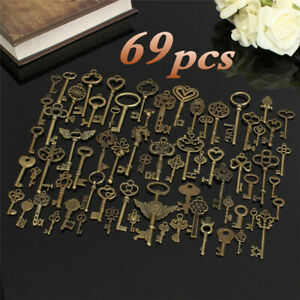 Set of 69 Antique Vtg old look Ornate Skeleton Keys Lot Pendant Fancy Heart Bow $11.99