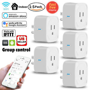 1-5Pack Wifi Smart Plug Remote Control Outlet Work with Amazon Alexa Google Home