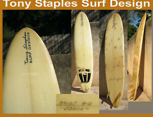 Surfboard Tony Staples Design long Board 8 Ft  3 Fin Found in San Diego