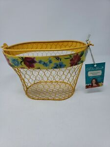 The Pioneer Woman Yellow Chicken Wire Basket With Floral Border. FREE SHIPPING