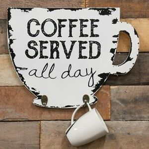 New Shabby White Wood COFFEE SERVED ALL DAY HOOKS Cup Shaped Sign Wall Hanging