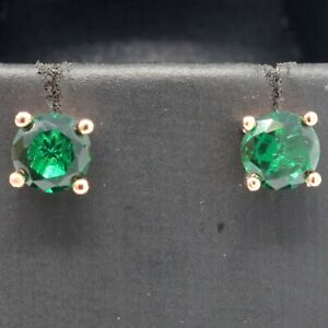 Antique Round Emerald Stud Earrings Women Jewelry Gift 14K Rose Gold Plated $44.04