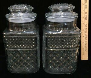 Canisters Clear Glass Heavy Apothecary Candy Gasket Seal Lid Pair Diamond Design