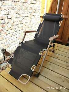 Outdoor Chaise Lounge Chairs Folding/Reclining/Full Flat/3 Adjustable Leg Rest