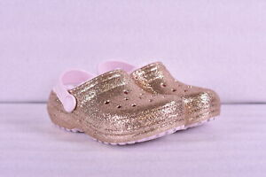 Little GIrl Crocs Classic Glitter Lined Clogs Gold w Pink Lining
