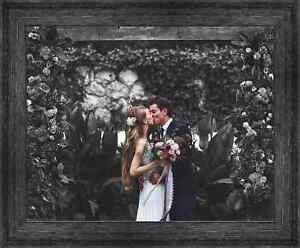 34x17 Black Barnwood Picture Frame With Acrylic Front and Foam Board Backing