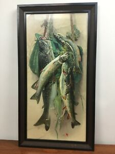 """Antique Victorian Chromolithograph """"Hanging Catch"""" Framed Fishing Litho Pressed $165.00"""