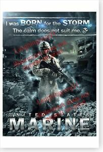 USMC Marine Corps I Was Born For The Storm The Calm Does Not Suit Me Poster