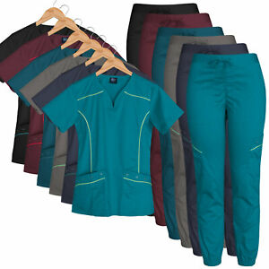 Medgear Women#x27;s Stretch Scrub Set Moto Inspired Top and Jogger Pants