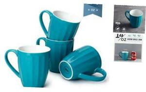 Sweese 602.107 Porcelain Fluted Mugs - 14 Ounce Coffee Cup Set for Coffee, Tea,