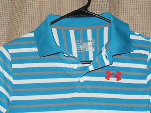 UNDER ARMOUR boys golf polo shirt size large loose fit heat gear blue gray white $9.99