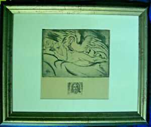 quot;Leda and The Swanquot; Etching Signed Numbered 5 10 c 1923 Framed $32.00