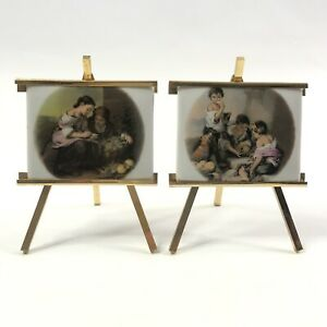 Set of 2 Miniature Victorian Paintings on Porcelain Tiles on Gold Easels $44.10