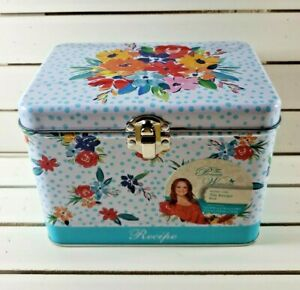 The Pioneer Woman Birthday Floral Tin Baking Recipe Box Brand New