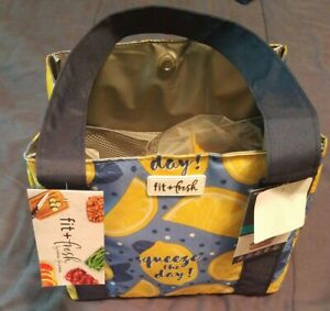 FIT & FRESH Insulated Lunch Tote Sandwich Snack Containers squeeze the day lemon