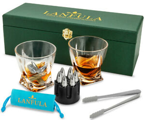 Whiskey Glass with Bullet Stones Scotch Glasses Gift Set for Men - Leather Box