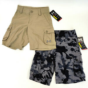 Lot of 2 Pairs UNDER ARMOR XS Youth Heat Gear Golf Shorts NEW W TAGS Tan $21.60
