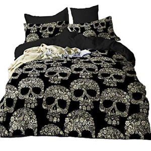 Suncloris,Golden Skull,3PC Microfiber Skeleton Bedding Sheet Set Comforter Queen