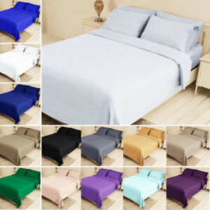 Bed Fitted Sheet Set Flat Sheet Pillowcase Bedding Twin XL Queen King 14 colors