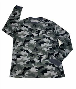 Under Armour Mens Thermal Long Sleeve Shirt Gray Camouflage Coldgear Crew Neck L $24.95